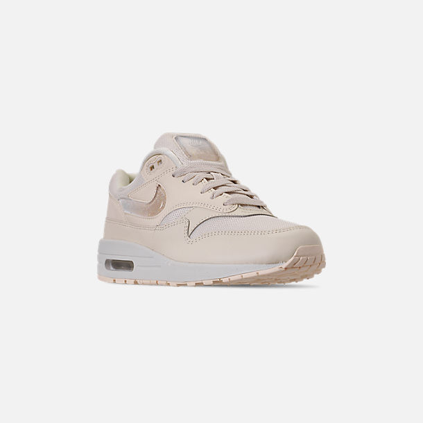 Three Quarter view of Women's Nike Air Max 1 JP Casual Shoes in Pale Ivory/Summit White/Guava Ice