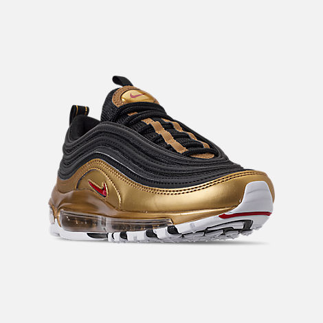Three Quarter view of Boys' Big Kids' Nike Air Max 97 B-Side Casual Shoes in Black/Varsity Red/Metallic Gold/White