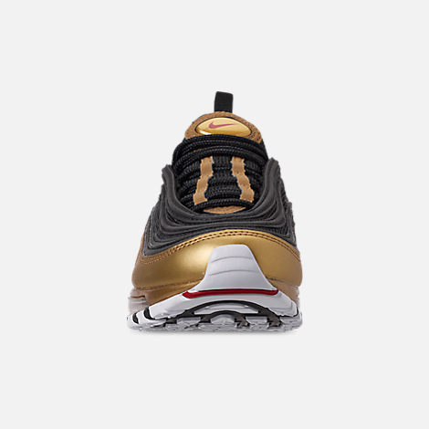 Front view of Boys' Big Kids' Nike Air Max 97 B-Side Casual Shoes in Black/Varsity Red/Metallic Gold/White