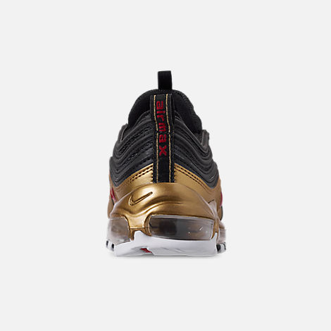 Back view of Boys' Big Kids' Nike Air Max 97 B-Side Casual Shoes in Black/Varsity Red/Metallic Gold/White