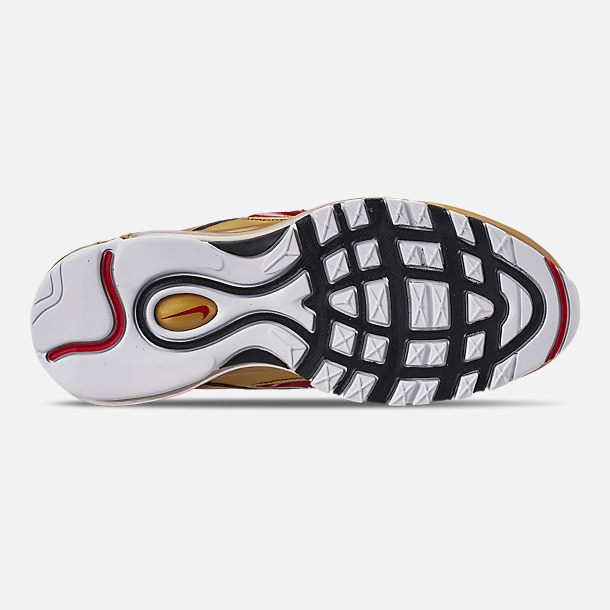 Bottom view of Boys' Big Kids' Nike Air Max 97 B-Side Casual Shoes in Black/Varsity Red/Metallic Gold/White