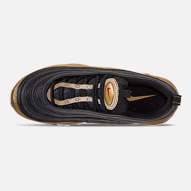 Top view of Boys' Big Kids' Nike Air Max 97 B-Side Casual Shoes in Black/Varsity Red/Metallic Gold/White