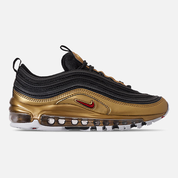 Right view of Men's Nike Air Max 97 QS Casual Shoes in Black/Varsity Red/Metallic Gold/White