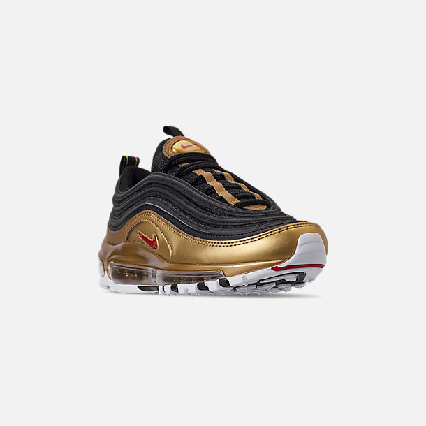 Three Quarter view of Men's Nike Air Max 97 QS Casual Shoes in Black/Varsity Red/Metallic Gold/White