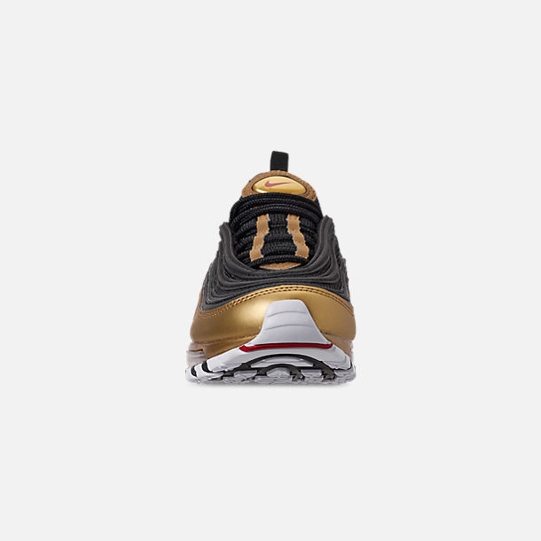 Front view of Men's Nike Air Max 97 QS Casual Shoes in Black/Varsity Red/Metallic Gold/White