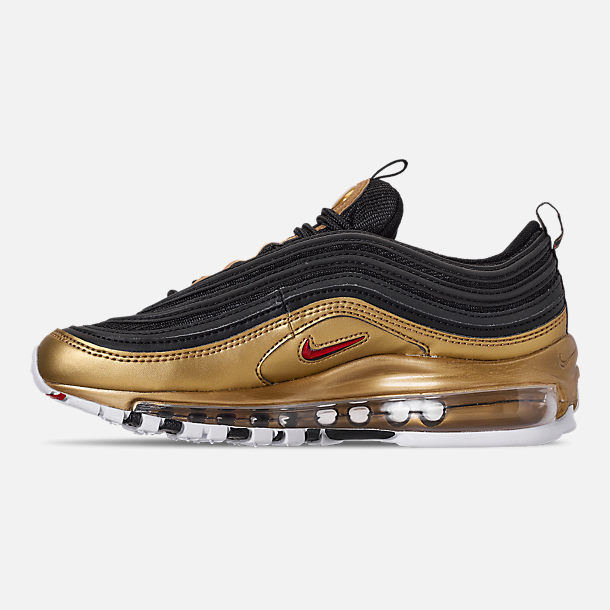 Left view of Men's Nike Air Max 97 QS Casual Shoes in Black/Varsity Red/Metallic Gold/White