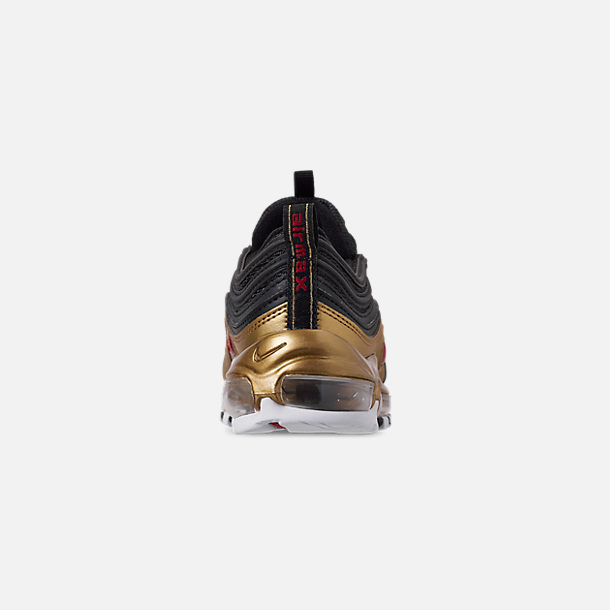 Back view of Men's Nike Air Max 97 QS Casual Shoes in Black/Varsity Red/Metallic Gold/White