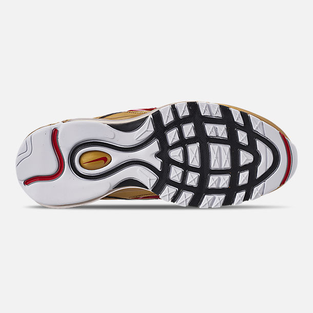 Bottom view of Men's Nike Air Max 97 QS Casual Shoes in Black/Varsity Red/Metallic Gold/White