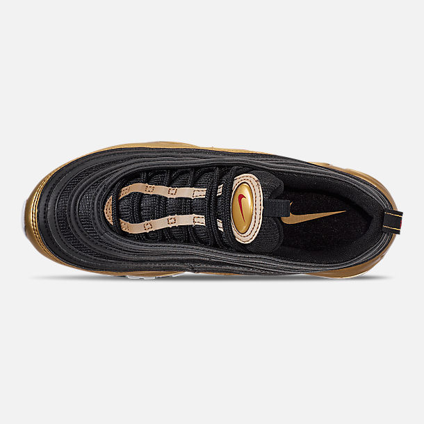 Top view of Men's Nike Air Max 97 QS Casual Shoes in Black/Varsity Red/Metallic Gold/White