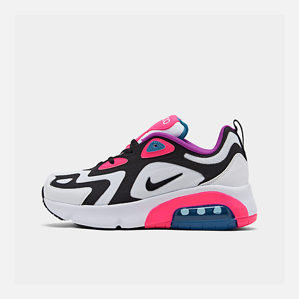 Right view of Girls' Big Kids' Nike Air Max 200 Casual Shoes in White/Black/Hyper Pink/Photo Blue