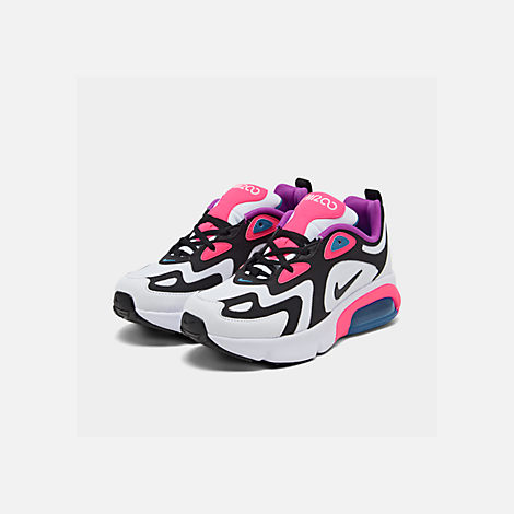 Three Quarter view of Girls' Big Kids' Nike Air Max 200 Casual Shoes in White/Black/Hyper Pink/Photo Blue