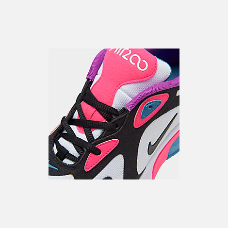 Front view of Girls' Big Kids' Nike Air Max 200 Casual Shoes in White/Black/Hyper Pink/Photo Blue