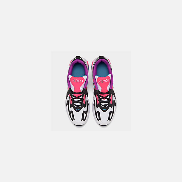 Back view of Girls' Big Kids' Nike Air Max 200 Casual Shoes in White/Black/Hyper Pink/Photo Blue