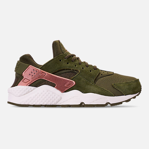 Right view of Women's Nike Air Huarache Running Shoes in Olive Canvas/Metallic Rose Gold