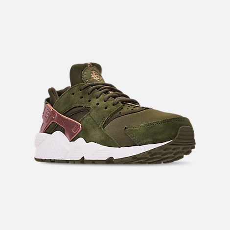 Three Quarter view of Women's Nike Air Huarache Running Shoes in Olive Canvas/Metallic Rose Gold