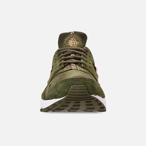 Front view of Women's Nike Air Huarache Running Shoes in Olive Canvas/Metallic Rose Gold