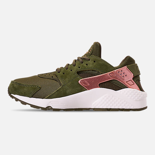 Left view of Women's Nike Air Huarache Running Shoes in Olive Canvas/Metallic Rose Gold