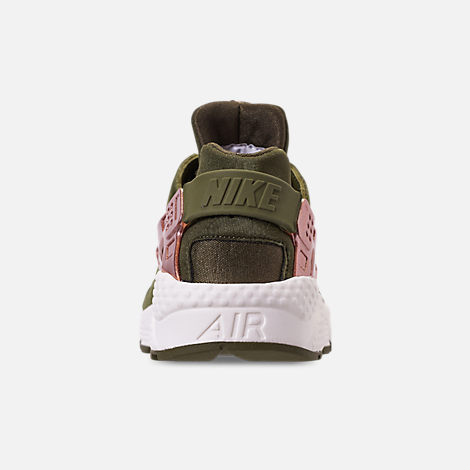 Back view of Women's Nike Air Huarache Running Shoes in Olive Canvas/Metallic Rose Gold
