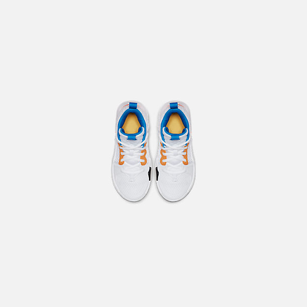 Back view of Boys' Little Kids' Air Jordan Why Not Zer0.2 Basketball Shoes in White/Total Crimson/Tidal Blue