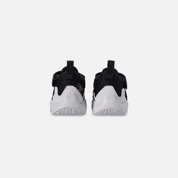 Back view of Boys' Toddler Air Jordan Why Not Zer0.2 Basketball Shoes in Black/White