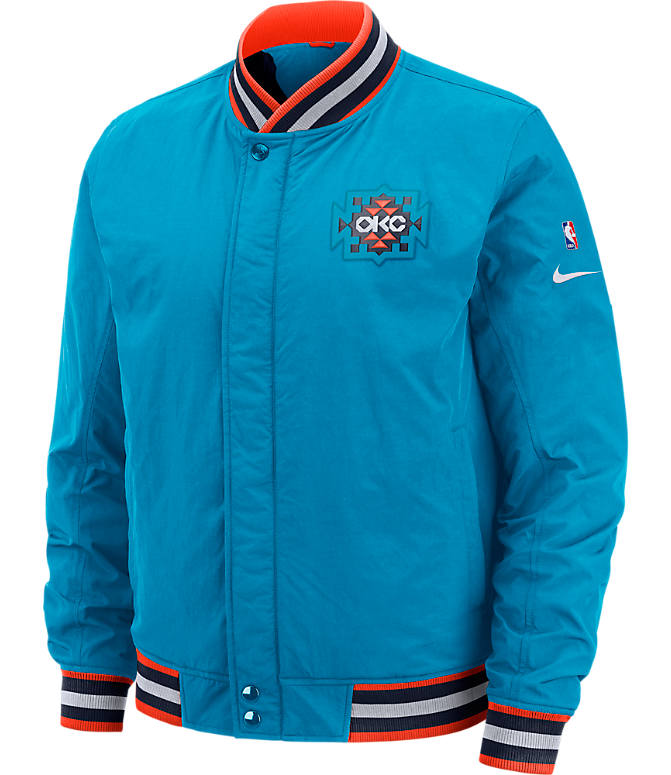 Front view of Men's Nike Oklahoma City Thunder NBA Courtside Jacket in Blue