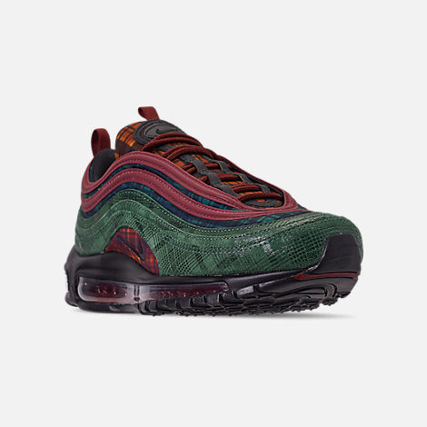 Three Quarter view of Men's Nike Air Max 97 NRG Casual Shoes in Team Red/Midnight Spruce
