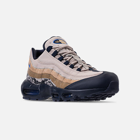 Three Quarter view of Men's Nike Air Max 95 SOF Casual Shoes in Newsprint/Blue Hero/String/Canteen