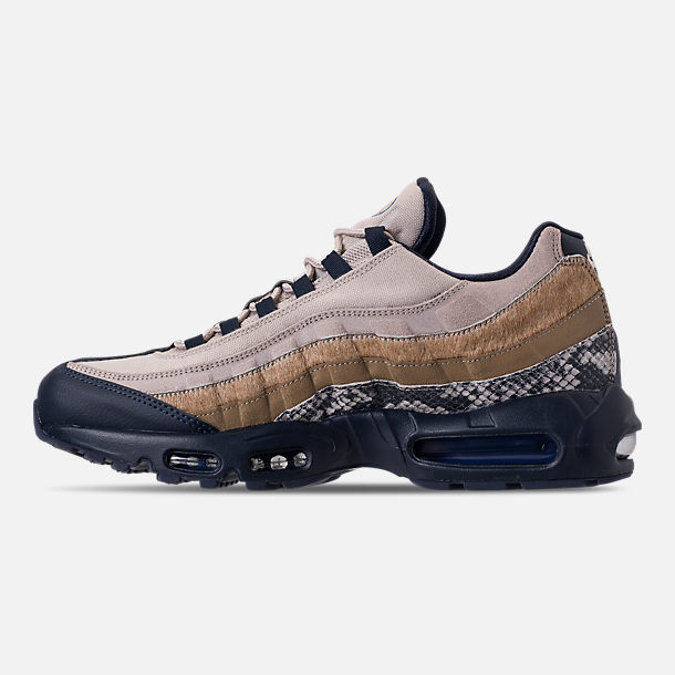 Left view of Men's Nike Air Max 95 SOF Casual Shoes in Newsprint/Blue Hero/String/Canteen