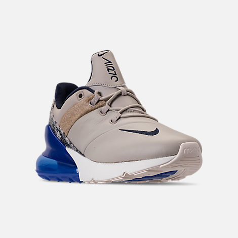Three Quarter view of Men's Nike Air Max 270 SOF Casual Shoes in Obsidian/Hyper Royal/Sail/String