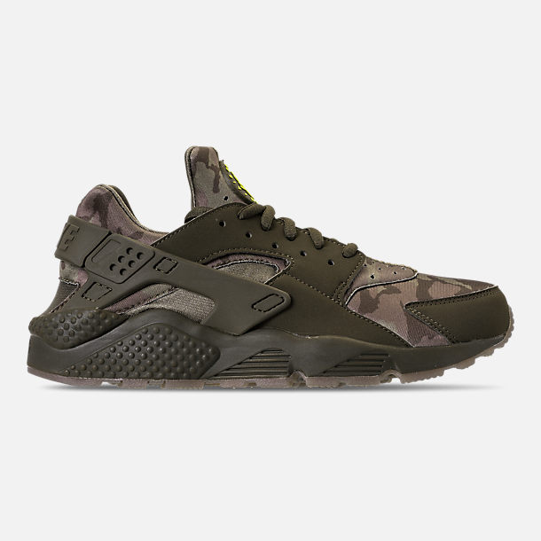 Right view of Men's Nike Air Huarache Run Camo Casual Shoes in Cargo Khaki/Volt/Sequoia/Gum