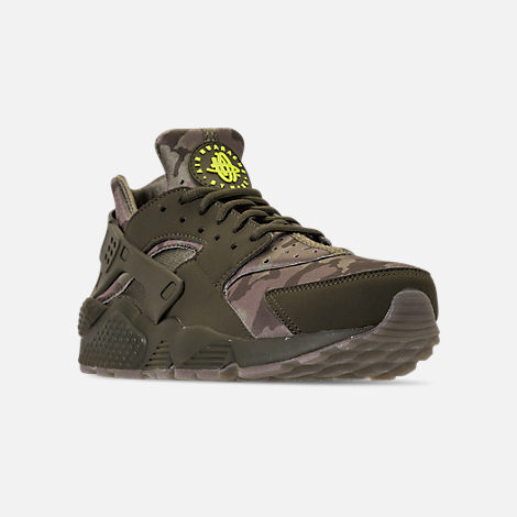 Three Quarter view of Men's Nike Air Huarache Run Camo Casual Shoes in Cargo Khaki/Volt/Sequoia/Gum