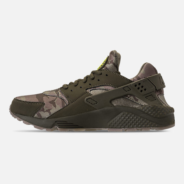 Left view of Men's Nike Air Huarache Run Camo Casual Shoes in Cargo Khaki/Volt/Sequoia/Gum