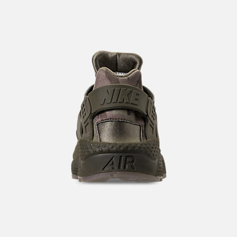 Back view of Men's Nike Air Huarache Run Camo Casual Shoes in Cargo Khaki/Volt/Sequoia/Gum