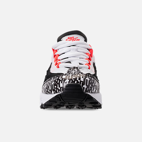 Front view of Boys' Preschool Nike Air Max 95 Casual Shoes in Black/White/Red