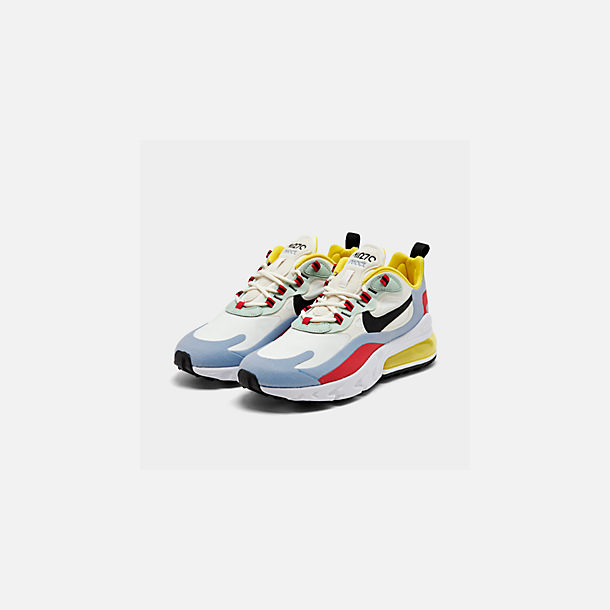 Three Quarter view of Women's Nike Air Max 270 React Casual Shoes in Phantom/Black/Light Blue/Univ Red/Dyna