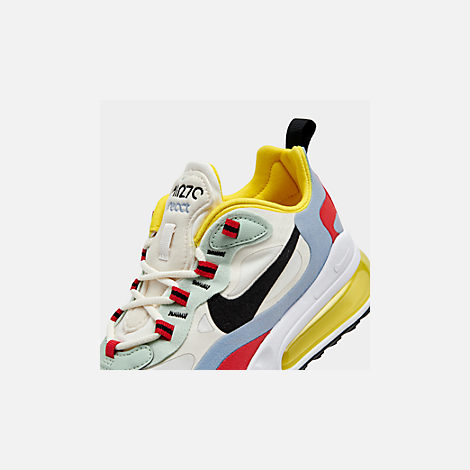 Front view of Women's Nike Air Max 270 React Casual Shoes in Phantom/Black/Light Blue/Univ Red/Dyna