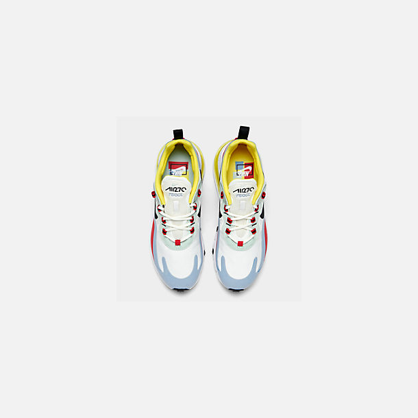 Back view of Women's Nike Air Max 270 React Casual Shoes in Phantom/Black/Light Blue/Univ Red/Dyna