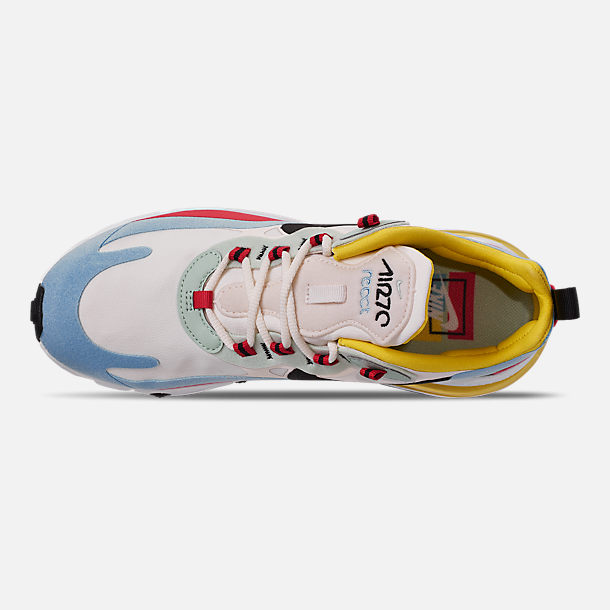 Top view of Women's Nike Air Max 270 React Casual Shoes in Phantom/Black/Light Blue/Univ Red/Dyna