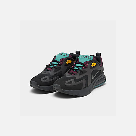 Three Quarter view of Women's Nike Air Max 200 Casual Shoes in Black/Anthracite/Bordeaux/Univ Gold
