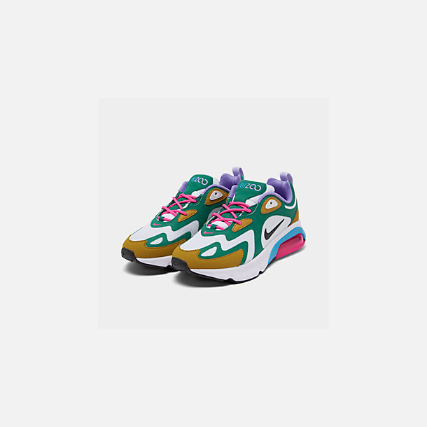 Three Quarter view of Women's Nike Air Max 200 Casual Shoes in Mystic Green/White/Gold Suede