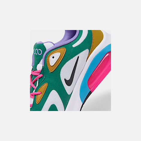 Front view of Women's Nike Air Max 200 Casual Shoes in Mystic Green/White/Gold Suede