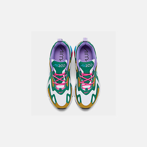 Back view of Women's Nike Air Max 200 Casual Shoes in Mystic Green/White/Gold Suede
