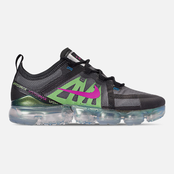 Right view of Men's Nike Air VaporMax 2019 Premium Running Shoes in Black/Active Fuchsia/Photo Blue/Lime Blast
