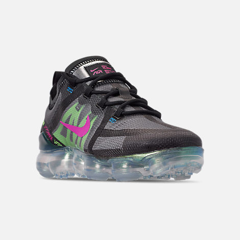 Three Quarter view of Men's Nike Air VaporMax 2019 Premium Running Shoes in Black/Active Fuchsia/Photo Blue/Lime Blast