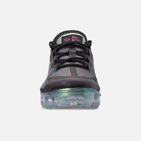 Front view of Men's Nike Air VaporMax 2019 Premium Running Shoes in Black/Active Fuchsia/Photo Blue/Lime Blast