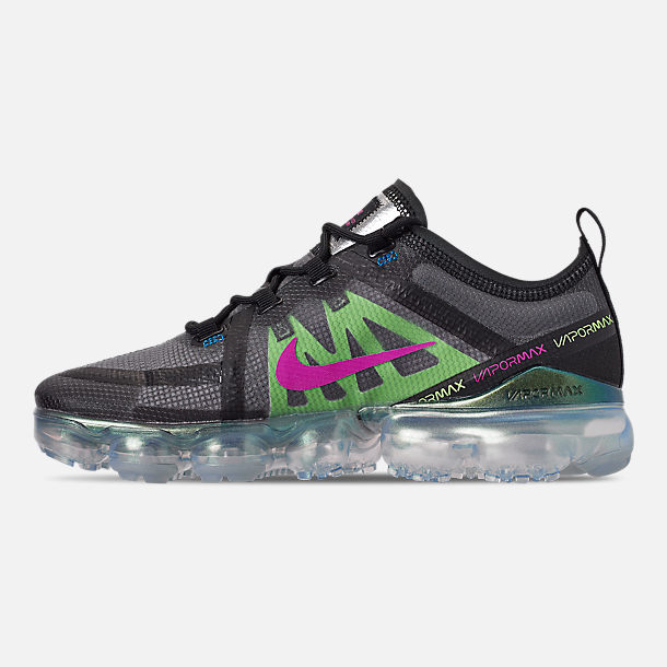 Left view of Men's Nike Air VaporMax 2019 Premium Running Shoes in Black/Active Fuchsia/Photo Blue/Lime Blast