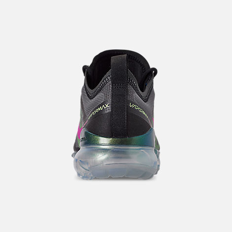 Back view of Men's Nike Air VaporMax 2019 Premium Running Shoes in Black/Active Fuchsia/Photo Blue/Lime Blast