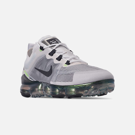 Three Quarter view of Men's Nike Air VaporMax 2019 Premium Running Shoes in  White/Dark