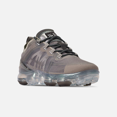 Three Quarter view of Women's Nike Air VaporMax 2019 Premium Running Shoes in Mineral Spruce/Metallic Silver/Spruce