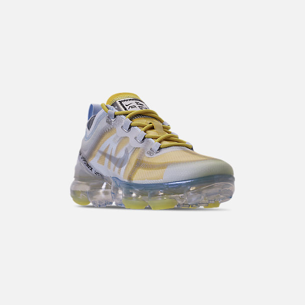 Three Quarter view of Women's Nike Air VaporMax 2019 Premium Running Shoes in Celery/Metallic Silver/Half Blue